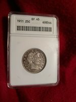 1911 Barber Quarter ANACS EXTREMELY FINE 45