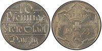 DANZIG. 1923 Copper-Nickel 10 Pfennig. PCGS PR64. Denomination / Arms divide date within snowflake design. KM 143.