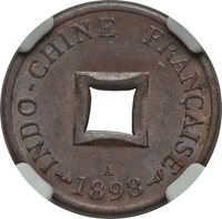 1898 A French Indo-China 2 Sapeque NGC MS 63 BN Vietnam Cochin