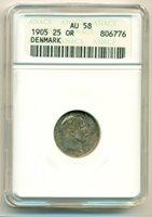 Denmark Silver 1905 25 Ore AU58 ANACS