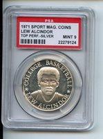 1971 Sport Mag Coins Silver Lew Alcindor PSA 9