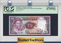 20 Emalangeni 1974 Cs1 Swaziland Specimen Pcgs 67 Ppq Superb Gem New