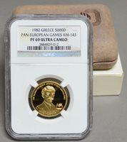 1981 Greece Gold 5000D Pan European Games KM-143 PR69 Ultra Cameo NGC 930401-4