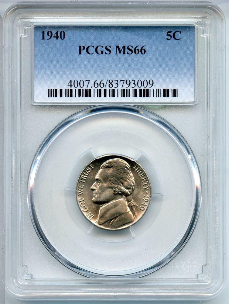 1940 P Jefferson Nickel PCGS MS66