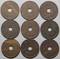 1927-1940 Denmark 5 Ore-9 coin set Lot 2