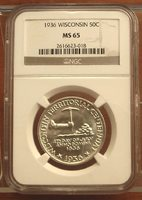1936 Wisconsin Half Dollar 50c Coin 1/2 of $1 ~ NGC MS 65 ~ GEM BU ~