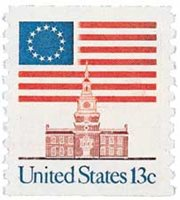 #1625 – 1975 13c Flag over Independence Hall, coil
