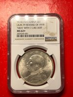 China 1921 YSK Fatman 1 Yuan Dollar Silver Coin [十年八背,7点年稀少] ngc 62+