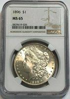1896-P $1 Morgan Silver Dollar NGC MS 65