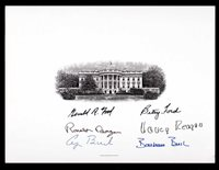 3 Presidents & 1st Ladies Signed White House Engraving Card! * PSA • Reagan