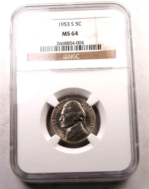 PCGS MS-64 1953-S Jefferson Nickel Coin