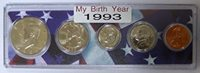 1993 - 5 Coin Birth Year Set in American Flag Holder Uncirculated
