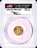 2018 $5 1/10oz Gold Eagle PCGS MS70 First Day of Issue John Mercanti Signed
