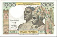 1000 Francs West African States Banknote, Undated (1980), Km:103an
