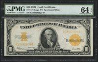 FR1173 $10 1922 GOLD NOTE PMG 64 EPQ -- VERY CHOICE UNC -- WLM4769