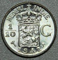 1942 Netherlands East Indies One Tenth Gulden Silver BU-Lot 1