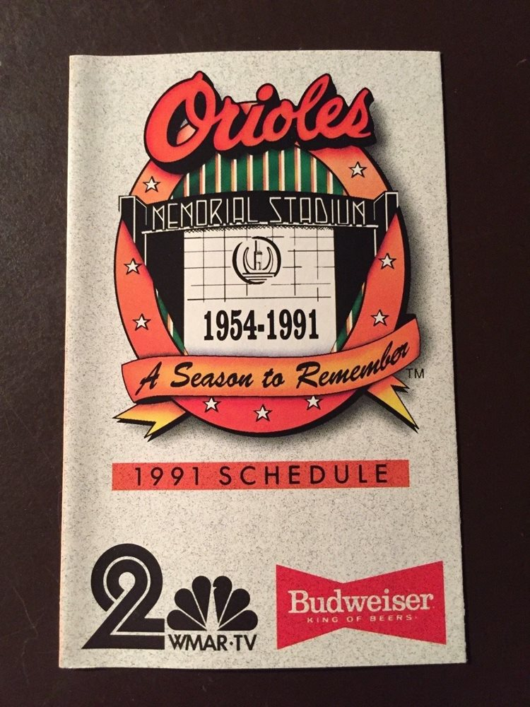 Baltimore Orioles 1991 MLB pocket schedule - Budweiser