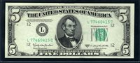 $5 1950D San Francisco. Granahan-Dillon. F1965L. Choice Uncirculated. Serial L77460415C.