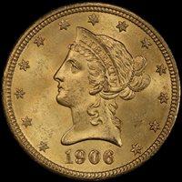 1906-D $10 MS64+ PCGS