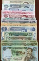 Super Set of 15 Saddam Hussein Iraq Dinars Uncirculated Banknotes Paper Money