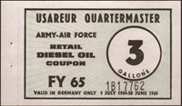 Cold War USAREUR Germany Quartermaster Army-Air Force gas coupon rare 3 gallon