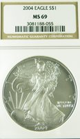2004 MS69 NGC SILVER EAGLE 1 OUNCE