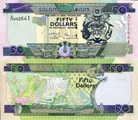 """Solomon Islands 50 Dollars Pick #: 24 2001 UNCOther A/25 Prefix - Similar to p22, but with flag added. Multicolored Crest; Flag flying from Pole; Various animals and artifactsNote 6 1/4"""" x 2 3/4"""" Australia and the South Pacific Head of Falcon - CBSI initials"""