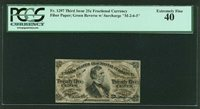 U.S. 1864-69 25 CENTS FRACTIONAL CURRENCY FR-1297 CERTIFIED BY PCGS XF-40
