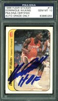"Dominique Wilkins ""HOF"" Signed Card 1986 Fleer Sticker #11 w/ Gem 10 Auto! PSA"
