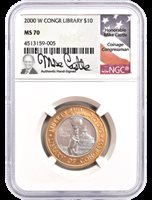 2000-W $10 Library of Congress Bi-Metallic NGC MS70 Mike Castle Signed Label