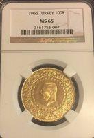 1966 Turkey 100 Kurush Gold Brilliant Uncirculated NGC MS 65 Absolute Beauty!