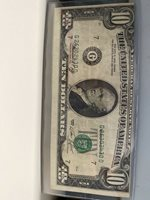 $1 FEDERAL RESERVE NOTE ERROR 1974 CUTTING ERROR AND MISALIGNMENT REJECTION MARK