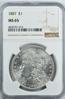 1887 Morgan Dollar S$1 NGC MS65