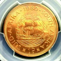 SOUTH AFRICA 1960 1 PENNY PCGS MS65RD GEM