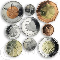 Saba, set of 9 coins Sea Fauna Starfish Shells 2012