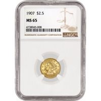 1907 1907/1907 $2.50 Liberty Head Quarter Eagle Gold B-6329 VP-002 NGC MS65