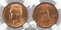LUNDY Martin Coles Harman 1929 1/2 Puffin NGC MS-64 RB -- #WC73314