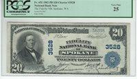 """1902 $20 CHARTER 3528 """"THE FIDELITY NATIONAL BANK OF SPOKANE WASHINGTON"""""""