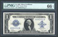 1923 $1 SILVER CERTIFICATE BANKNOTE FR238 GEM UNCIRCULATED CERTIFIED PMG-66-EPQ