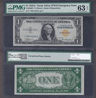 Fr#2306* $1 1934A *70971225A 63EPQ North Africa Star less than 5000 apart, 99 of 100 have centering issues that keep them out of 65 and higher in PMG holders. Bright white and very well embossed.