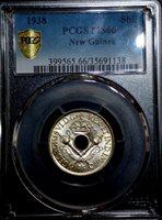 PCGS New Guinea MS 66 1 Shilling 1938 Silver British Colony George VI Coin Unc