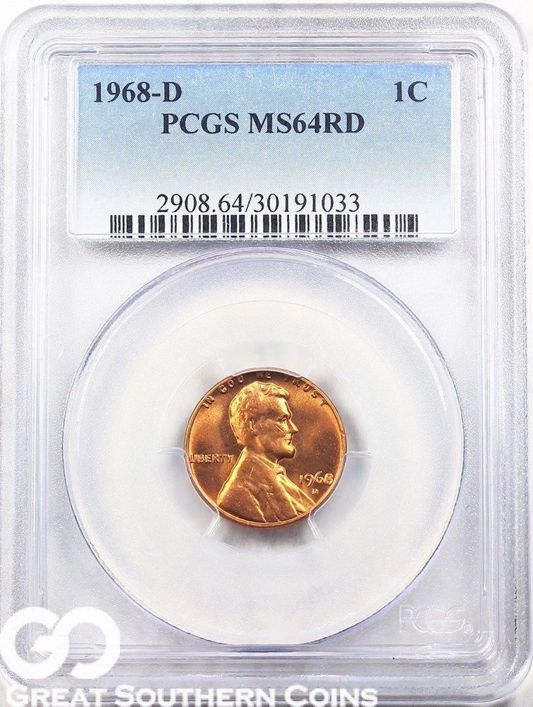 1968-D PCGS Lincoln Memorial Penny, RED, PCGS MS 64 RD