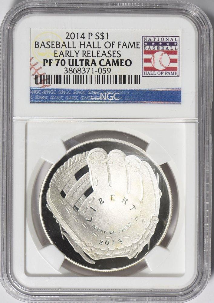 Coin 2014 Silver $1 Baseball Hall of Fame NGC MS70... HOF Nolan Ryan