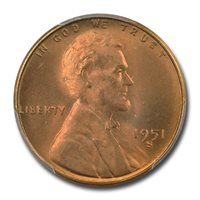 1951-S 1C Lincoln Cent - Type 1 Wheat Reverse PCGS MS67RD