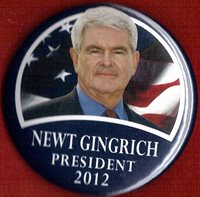 """2012 Newt Gingrich 2-1/4"""" / (R) Presidential Hopeful Campaign Button (Pin 01)"""