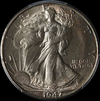 1947-D Walking Liberty Half PCGS MS66 Great Eye Appeal Fantastic Luster