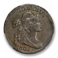 1802 1C Sheldon 232 Draped Bust Cent PCGS AU53BN