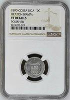 Costa Rica: 10 Centavos 1890, NGC VF, Heaton Birmm, Silver Coin