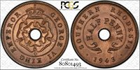 Southern Rhodesia 1/2 Half Penny 1943 MS66 RB PCGS KM#14a FINEST POP 1/0 RED