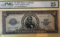 1923 $5 Silver Certificate Porthole Graded by PMG as VF 25 Fr #282
